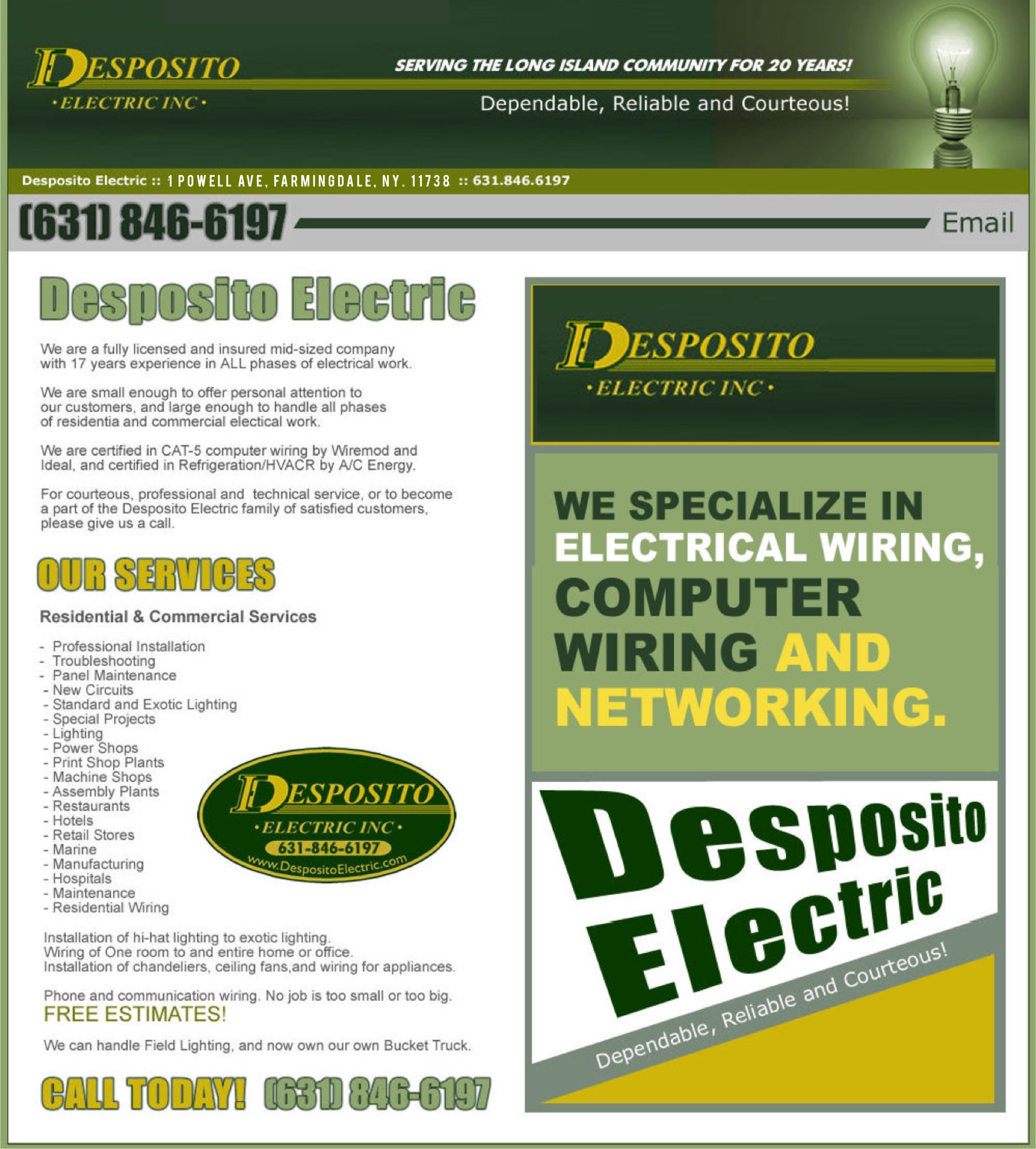 Despositio Electric - 631-846-6197 - Electrical Services - Bohemia, New York.